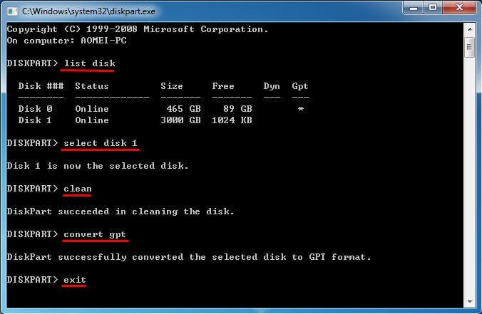 Convert GPT Diskpart