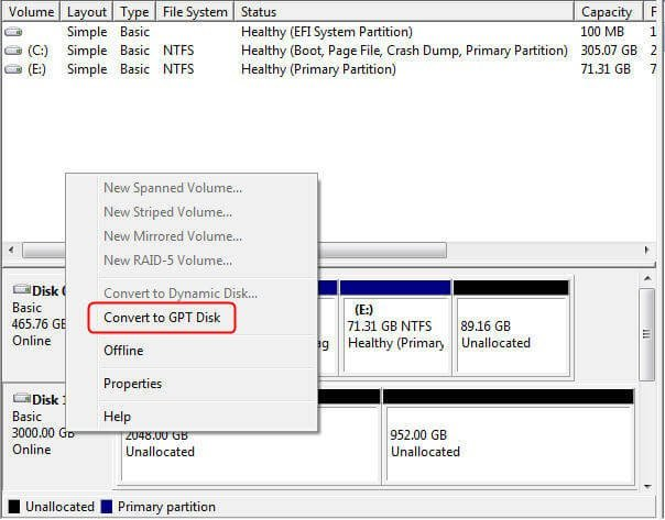 Convert to GPT Disk