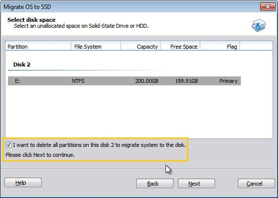 Select Unallocated Space on SSD