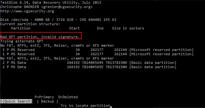 Fixed: Bad GPT Partition, Invalid Signature