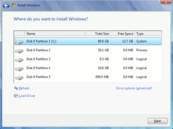Install Windows on C