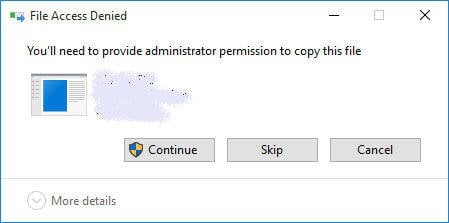 Ned to Provide Administrator Permission to Copy This File