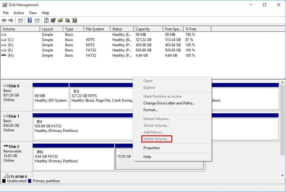 Cannot Delete Volume on USB Flash Drive