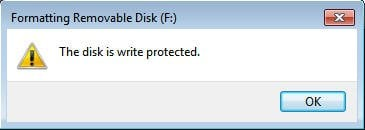 Can't Format to FAT32 Write-Protected