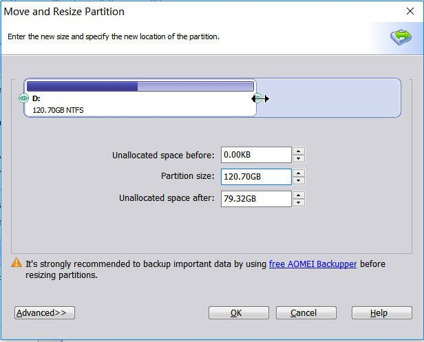Shrink Partition