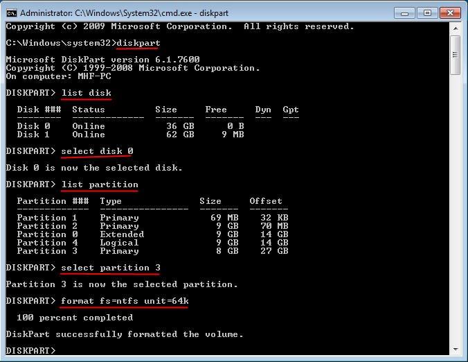 Diskpart Change Cluster Size