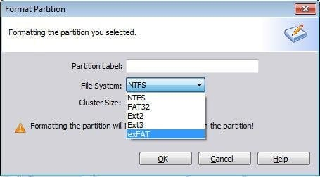 Format to NTFS