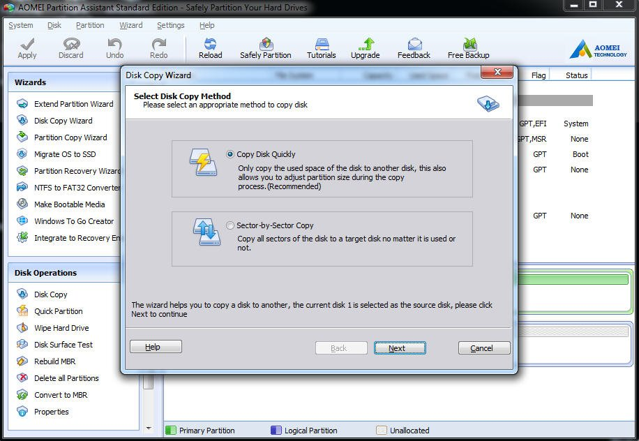 Select Disk Copy Method