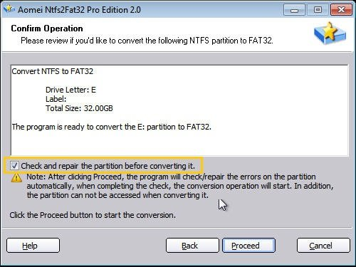 Convert Partition to FAT32