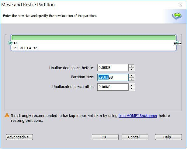 Resizing Existing FAT Partition