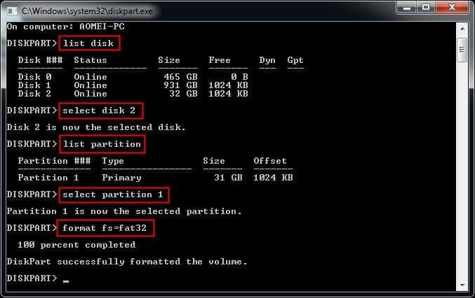 Format via Diskpart
