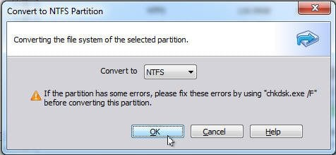 Convert to NTFS partition