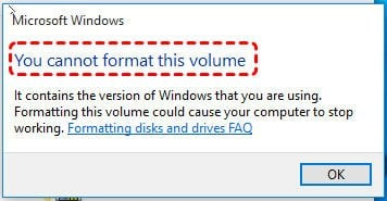 Cannot Format C Drive