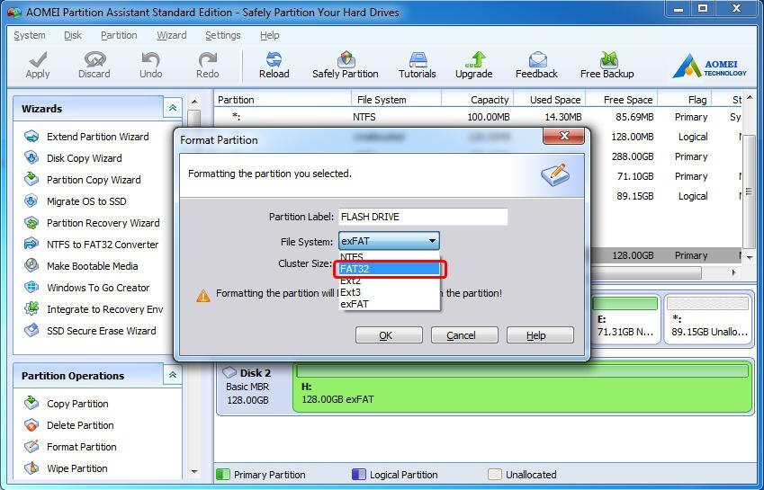 how to reformat a flash drive to fat32