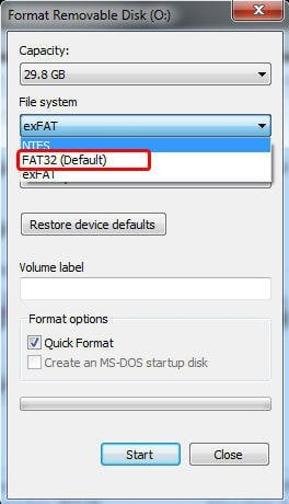 how to change exfat to fat32