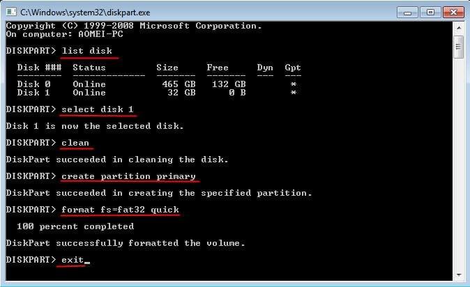 Diskpart Format FAT32