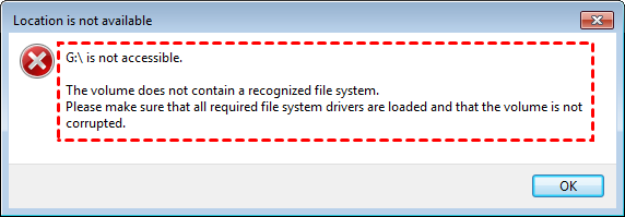 Not Contain a Recoginzied File System