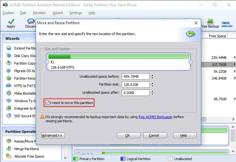 Move and Resize Partition