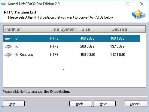 Select Partition to Convert