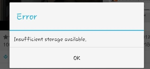 Insufficient Storage
