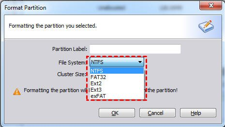 Raw file system to NTFS