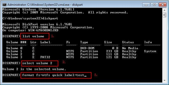 how to format sd card using cmd