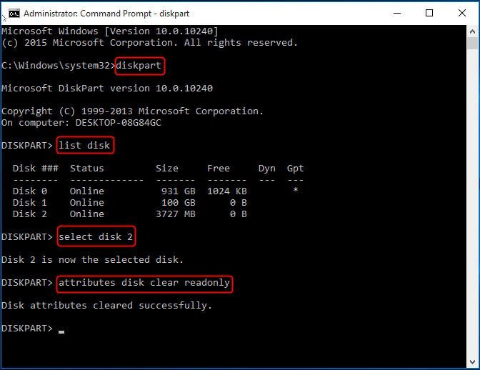 Remove Write Protection CMD