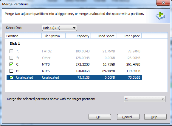Add Unallocated Space to C
