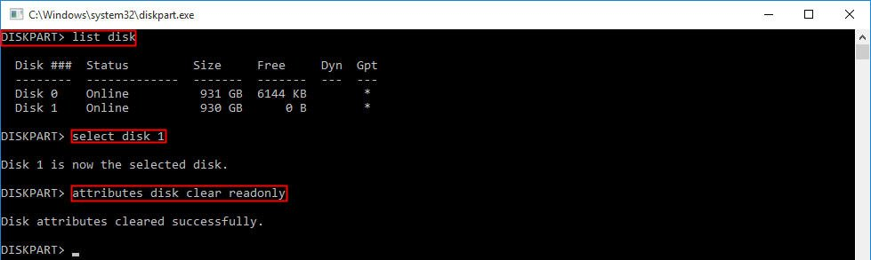 Remove Write Protection Diskpart