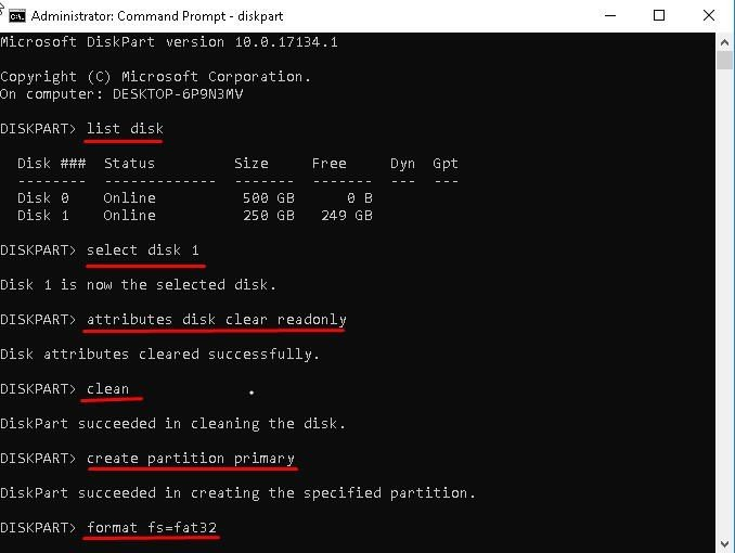 Remove Write Protected DiskPart