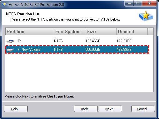 Choose NTFS Partition
