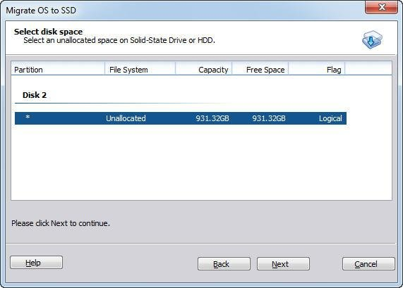 Select Disk Space