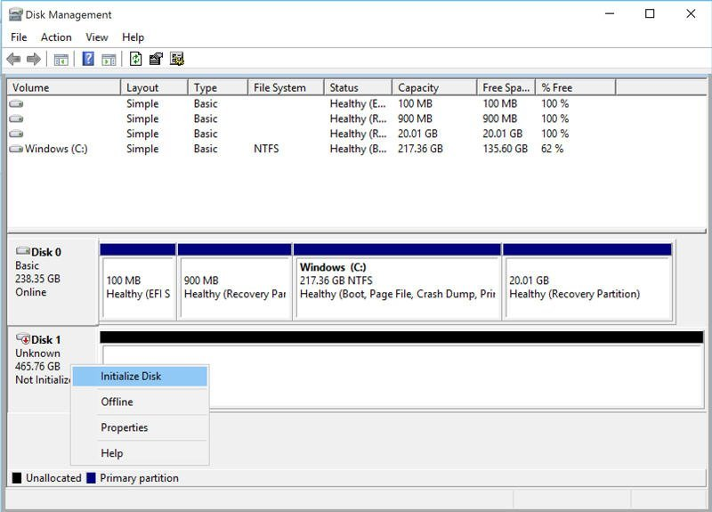 SSD initial setup. Courtesy: Disk-Partition