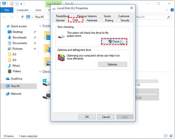 Check File System Error