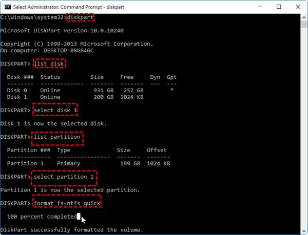 Diskpart NTFSでフォーマット
