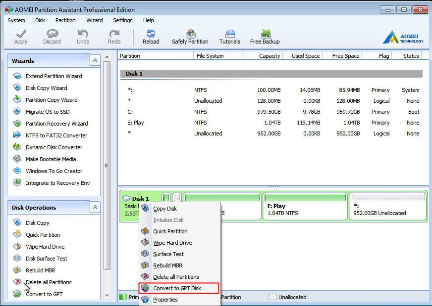 how to use diskpart to create gpt partition