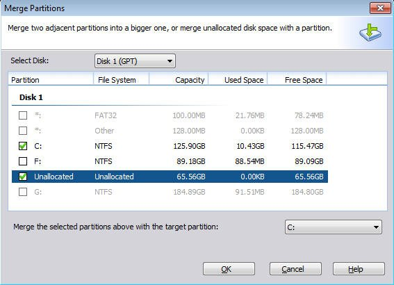 Merge Unallocated Space