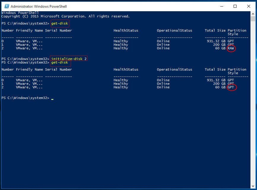 PowerShell: Initialize Disk to MBR or GPT in Windows 10/8/7