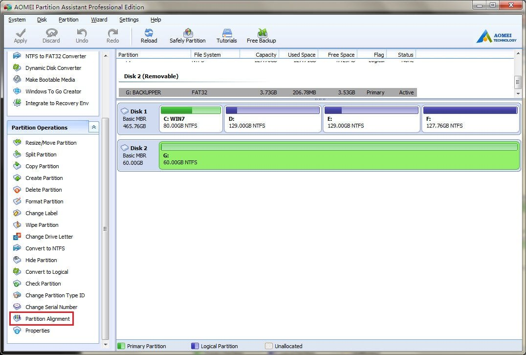 Realign SSD Partition