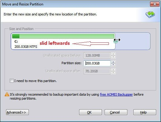Reduce Partition Size