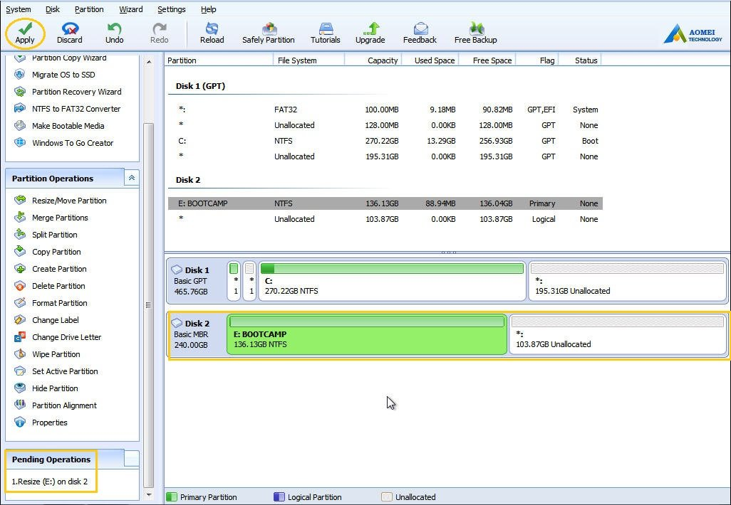 copy bootcamp partition to new drive