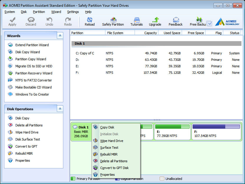 Create Partition with AOMEI Partition Assistant