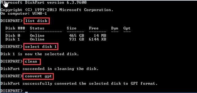Diskpart Convert GPT