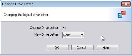 Change Drive Letter to None