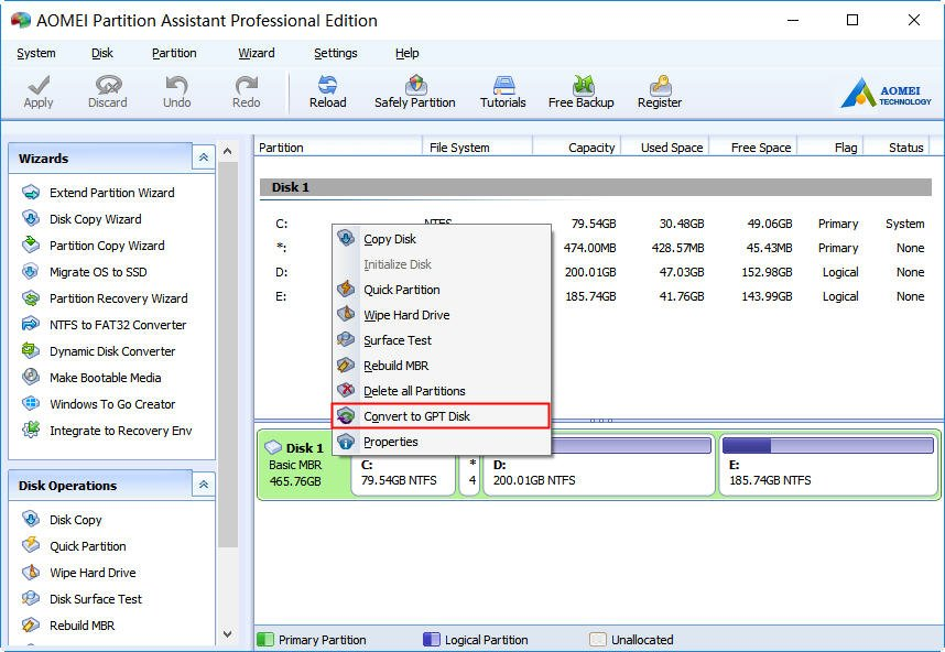 Convert MBR System Disk to GPT