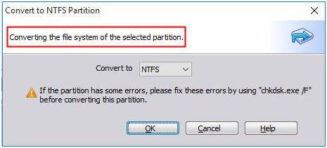 Convert FAT32 to NTFS