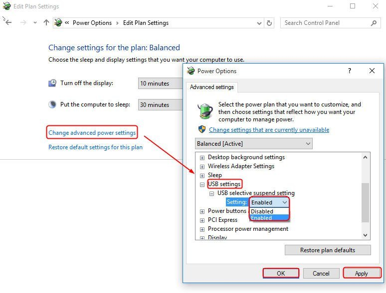 Disable USB Selective Suspend Feature