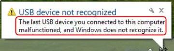 USB Not Recognized Windows10
