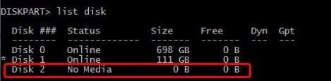 USB No Media 0 Bytes