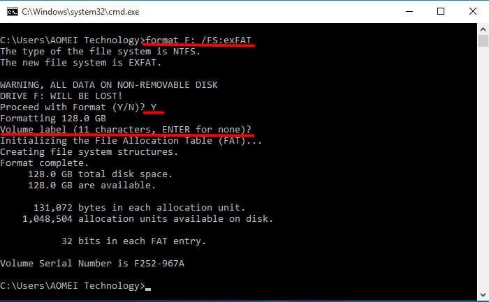 Format to exFAT CMD